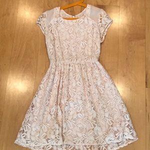 Light Pink Flower Printed Dress
